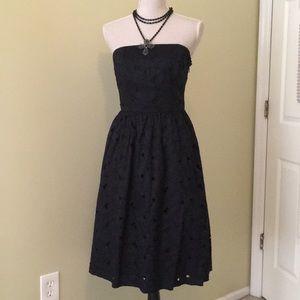 Ann Taylor black eyelet strapless dress Size 4